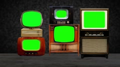 Antique TVs with key green screens. Stock Footage