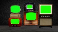 Stock Video Footage of Antique TVs with key green screens.