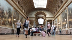 Museum hall in Versailles, Paris Stock Footage