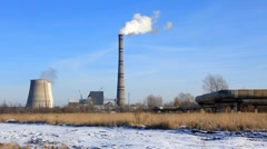 Heat electropower station. Timelapse 1080p - stock footage
