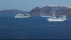 Santorini islands cruiseships Stock Footage
