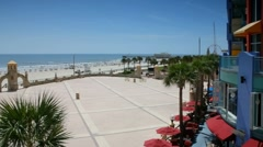 Overlooking the Bandstand shell entertainment and dining area on Daytona Beach Stock Footage