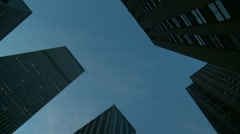 Looking up at skyscrapers Stock Footage