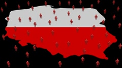 Poland map flag with many abstract people animation Stock Footage