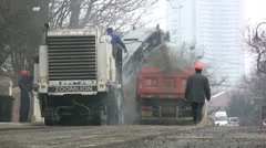 Road construction China - heavy machinery Stock Footage