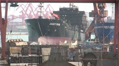 Ship construction in China Stock Footage