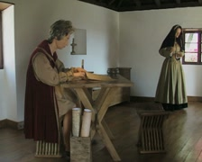 Museum room featuring historical reconstruction with figures Stock Footage