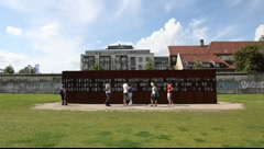 Berlin Wall Memorial at Bernauer Strasse Stock Footage
