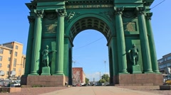 Narva Triumphal Gate, landmark Stock Footage