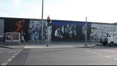 East Side Gallery - remnants of the Berlin Wall in Friedrichshain in Berlin Stock Footage