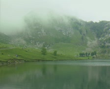 Lake, mountain and mist Stock Footage