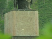 Close up of Don Pelayo statue Stock Footage