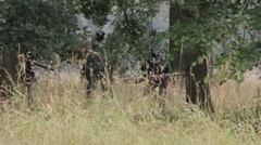 British riflemen in wood Stock Footage