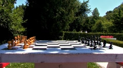 Chess Table In The Park - stock footage
