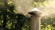 Chimney Smoke Woods Close Up Stock Footage