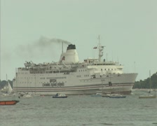 Zoom out from British Island Channel ferry Stock Footage