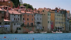 Houses by the sea, architecture, Rovinj, Croatia Stock Footage