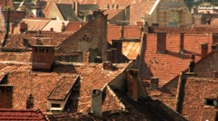 Old City Rooftops Heatwave Stock Footage