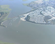 Aerial view of built-up coastal region Stock Footage