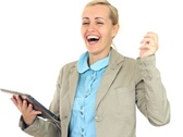 Exited successful businesswoman with tablet computer, isolated on white NTSC Stock Footage