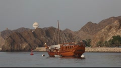 Old wooden ship in Muscat, Oman - stock footage