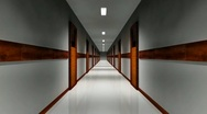 Long empty corridor Stock Footage