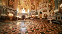 Overview of beautiful roof inside orthodox cathedral Stock Footage
