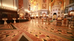 Overview of richly ornamented hall inside Cathedral of Christ the Saviour Stock Footage