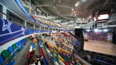 People wait for show in Megasport Arena Stock Footage