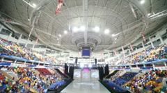 Overview of Megasport Arena after ice show Stock Footage