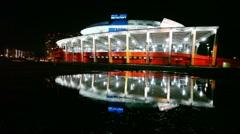 Palace of Sports Megasport at night Stock Footage