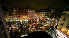 Vehicle jam on some crossroad in old Paris Stock Footage