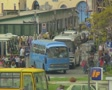 Buses leaving busy depot Footage