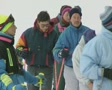 Skiers waiting in queue SD Footage