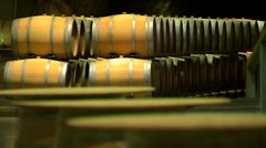 Barrels for wine in the cellar Stock Footage