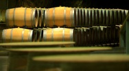 Stock Video Footage of Barrels for wine in the cellar