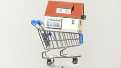 Closeup view on plastic house in toy truck Stock Footage