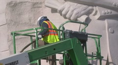 Sand sculpting of Martin Luther King memorial monument in DC Stock Footage