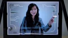 Future Touchscreen Technology with Asian Woman Stock Footage