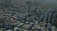 Stock Video Footage of flight over 3d city
