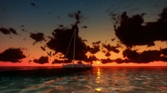 Yacht at Sunset with Time Lapse Clouds - stock footage