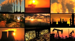 Montage of Clean Energy Production & Fossil Fuel Pollution - stock footage