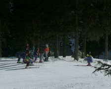Skiers warming up in a lesson Stock Footage