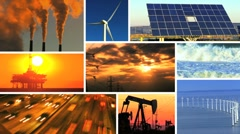 Montage of Renewable Energy & Fossil Fuel Pollution - stock footage