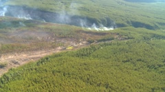 Aerial, gyro-stabilized, #27, over forest fire, prescribed burn Stock Footage
