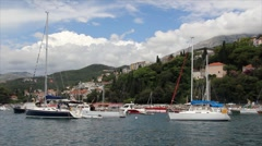 Boats at Port in Montenegro Stock Footage