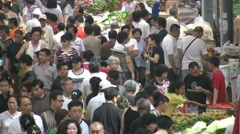 China, people do grocery shopping and fruit and vegetable market Stock Footage