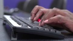 African male fingers on keyboard typing Stock Footage