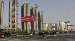 Huge construction site and traffic in Chinese city Stock Footage