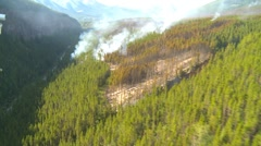 Aerial, gyro-stabilized, #30, over forest fire small flames below Stock Footage